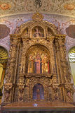 Sevilla - der Seitenaltar in der barocken Kirche von El Salvador (Iglesia-del Salvador) Lizenzfreies Stockbild