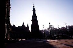 Sevilla e la plaza De Espanol in ombra fotografia stock