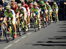 SEVILLA, ESPAÑA - 26 DE AGOSTO DE 2015: Bici de los corredores en el championsh Foto de archivo libre de regalías