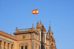 sevilla för de espana flaggaplaza spanjor royaltyfri foto
