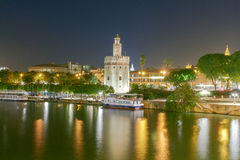 Sevilla. Golden Tower at night. Night view of the Golden Tower on the waterfront of the Guadalquivir. Sevilla. Andalusia royalty free stock images
