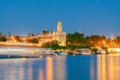 Sevilla. Golden Tower at night. Night view of the Golden Tower on the waterfront of the Guadalquivir. Sevilla. Andalusia stock image
