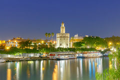 Sevilla. Golden Tower at night. Night view of the Golden Tower on the waterfront of the Guadalquivir. Sevilla. Andalusia royalty free stock image