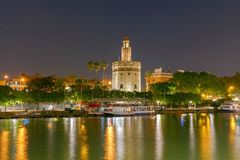 Sevilla. Golden Tower at night. Night view of the Golden Tower on the waterfront of the Guadalquivir. Sevilla. Andalusia royalty free stock photo