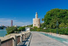 Sevilla. Golden Tower. Golden Tower Torre del Oro on the banks of the Guadalquivir River. Sevilla. Andalusia. Spain stock photo