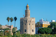 Sevilla Goldener Kontrollturm stockbild