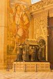 Sevilla - het graf van Christopher Columbus door Arturo Melida y Alinari (1891) in de Kathedraal DE Santa Maria de la Sede stock afbeeldingen