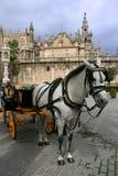 Sevilla-Kathedrale und typisches Pferdenfahrerhaus Lizenzfreies Stockfoto