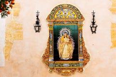 Sevilla, Maagdelijke Mary Ceramic Image Stock Afbeeldingen
