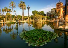 Sevilla. Mudejar Pavilion and pond Royalty Free Stock Photo