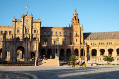 Sevilla, Plaza DE España, koninklijk paleis royalty-vrije stock afbeeldingen