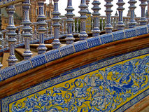 Sevilla, Plaza de Espana 13. A close up of one of the ceramic tile-covered bridges of Plaza de Espana in Sevilla, Spain Royalty Free Stock Photos