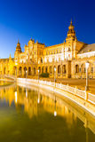 Sevilla plaza Spain at dusk Royalty Free Stock Image
