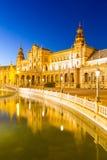 Sevilla plaza Spanien på skymning Royaltyfri Bild