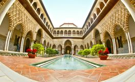 Sevilla Real Alcazar fish eye royalty free stock photo