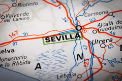 Sevilla on a road map Stock Photo