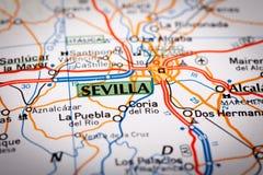 Sevilla on a road map. Map Photography: Sevilla City on a Road Map Royalty Free Stock Photos
