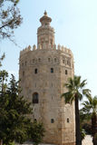 The Sevilla's gold Tower. The Gold tower, military watchtower of Seville, Andalucia stock images