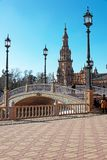 Bridge in the Plaza of Spain in Seville royalty free stock images