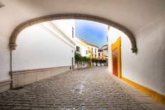 Sevilla, Spain - Architecture barrio Santa Cruz district. Seville, Spain - Architecture barrio Santa Cruz district royalty free stock images
