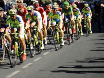 SEVILLA, SPAIN - AUGUST 26, 2015: Runners bike in the championsh Royalty Free Stock Photo