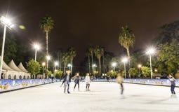 Skating rink at Christmas fair in Sevilla, Spain stock photography