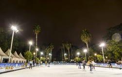 Skating rink at Christmas fair in Sevilla, Spain royalty free stock photography
