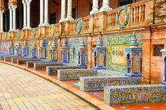 Sevilla, Spain. Famous ceramic decoration in Plaza de Espana, Sevilla, Spain stock photography