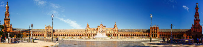 SEVILLA, SPAIN - OCTOBER 16,2012 : Panorama view of Plaza Espana. In Sevilla, Spain stock photos