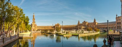 Panoramic view at the Place of Espana in Sevilla - Spain. SEVILLA,SPAIN - OCTOBER 1,2017 - Panoramic view at the Place of Espana in Sevilla. Sevilla is situated stock image
