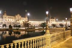 Sevilla, Spain - October, 2018: Spanish Square Plaza de Espana in Sevilla in a beautiful autumn night stock image