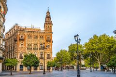 In the street of Sevilla in Spain. SEVILLA,SPAIN - OCTOBER 1,2017 - In the street of Sevilla in Spain. Sevilla is situated on the plain of the river Guadalquivir Royalty Free Stock Images