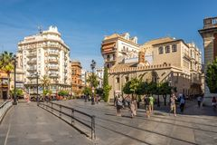 In the streets of Sevilla in Spain. SEVILLA,SPAIN - OCTOBER 1,2017 - In the streets of Sevilla. Sevilla is situated on the plain of the river Guadalquivir royalty free stock photography