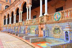 Sevilla, Spain. Plaza de Espana, Sevilla, Spain - famous old ceramic decoration stock photos