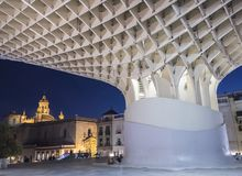 View of Metropol Parasol Night , popularly called `Mushrooms of Seville`, carried out by the architect Jürgen Mayer, Seville Stock Photo
