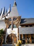 Sevilla Spanien - Februari 12, 2015: Ö av Charterhousen Den universella utläggningen av Seville 1992 Gammal paviljong av Ungern Royaltyfri Bild