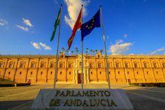 Sevilla Spanien, 20 Mai 2015 Parlament av Andalusia Seville royaltyfri foto