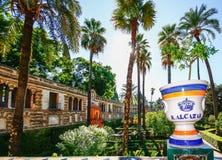 SEVILLA, SPANIEN, AM 16. OKTOBER 2012: Garten in den königlichen Alcazars von S Lizenzfreies Stockfoto