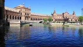 Sevilla, Spanje - beroemde Plaza DE Espana Oud oriëntatiepunt stock footage