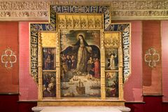 Sevilla - Spanje 22 FEBRUARI, 2018: Paleis van Alcazar, Retablo Virgen DE los Navegantes royalty-vrije stock foto