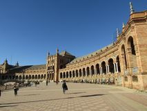 Sevilla, Spanje Spaanse Square Plaza DE Espana royalty-vrije stock afbeelding