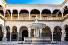 Sevilla, Terrashoofd van La Casa DE Pilatos Het gebouw is een kostbaar paleis in mudejar Spaanse stijl spanje stock fotografie