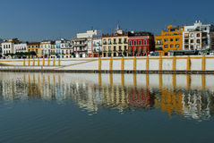 Seville. Guadalquivir river and typical houses Royalty Free Stock Photography