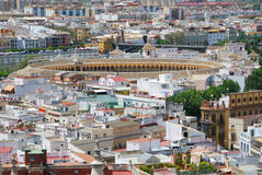 Seville. Real Maestranza bullring seen from the Giralda in Seville, Spain Royalty Free Stock Images