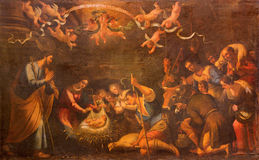Seville - The Adoration of shepherds paint in church Iglesia de la Annunciation by unknown painter. Royalty Free Stock Image
