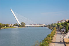 Seville - Alamillo bridge Royalty Free Stock Photography