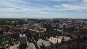 Seville, Andalucia, Spain - April 18, 2016: Cathedral of Seville panoramic view of the Giralda bell tower