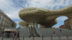 Seville, Andalucia, Spain - April 18, 2016: Metropol Parasol, wooden structure shaped like a giant mushroom