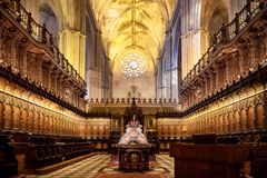 SEVILLE, ANDALUSIA, SPAIN, APRIL 3, 2018: interior of the famous cathedral of Seville in Andalucia, declared a World Heritage Site stock photos