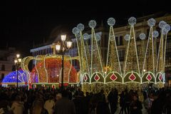 Christmas decorations in the center of Seville royalty free stock images